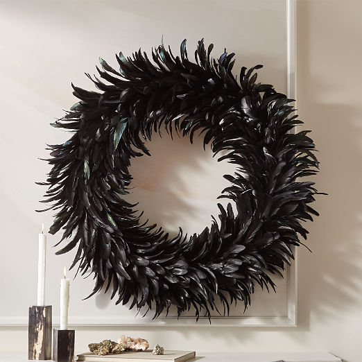 Feather Black Wreath 30""