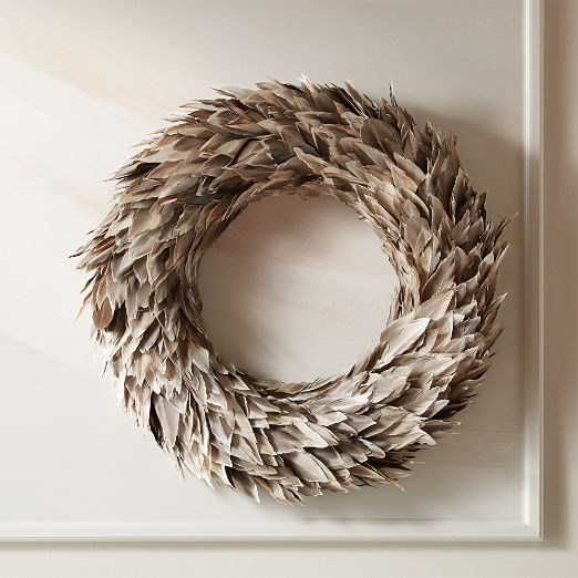 Feather Grey Wreath 22""