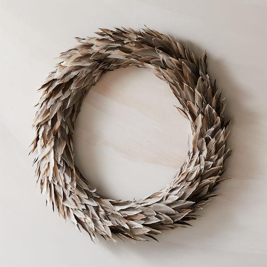 """Feather Grey Wreath 30"""""""