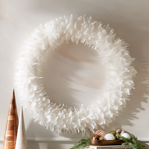 Feather White Wreath 36""