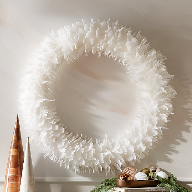 """Feather White Wreath 36"""" - Image 1 of 5"""