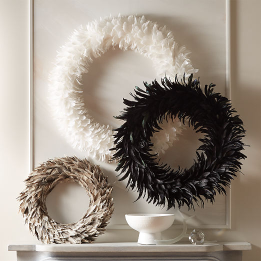 Feather Wreaths Set of 3