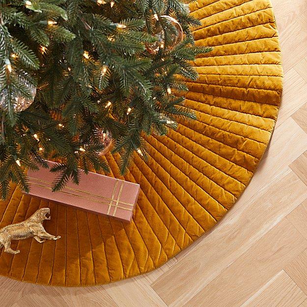 """48"""" Flake Velvet Burnt Gold Tree Skirt - Image 1 of 3"""
