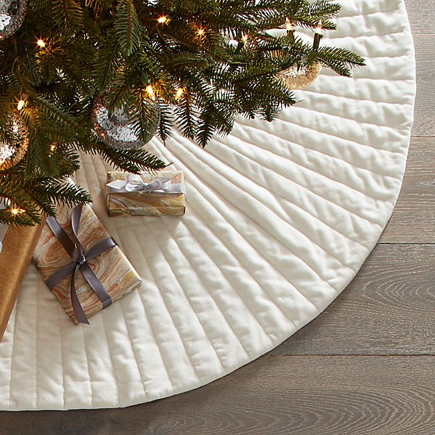 "48"" Flake White Velvet Tree Skirt - Image 1 of 6"
