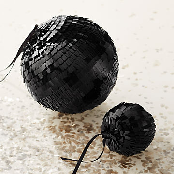 Black Christmas Ornaments.Modern Christmas Ornaments Cb2