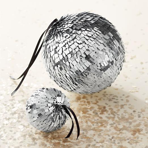 Flapper Large Silver Disco Ball Ornament