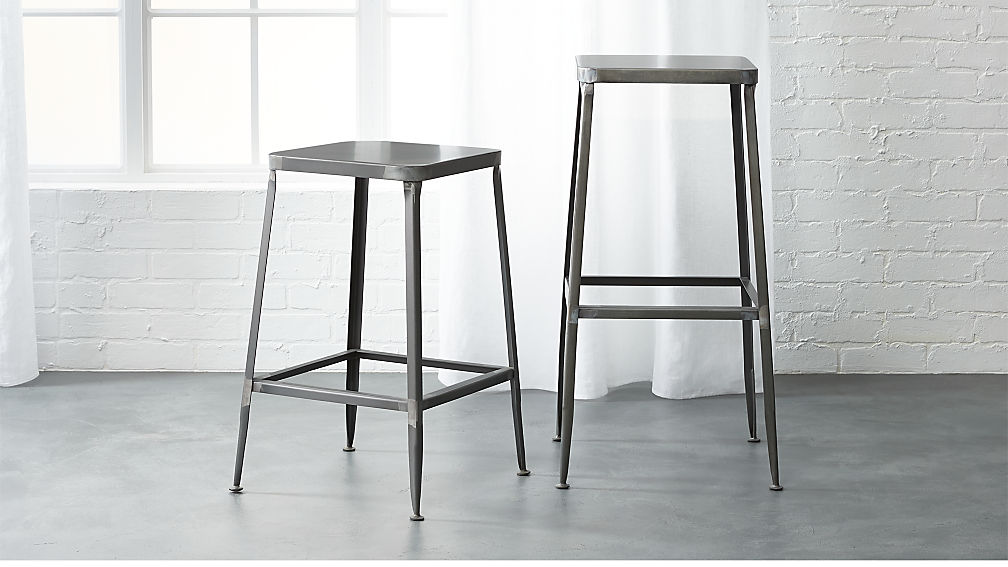 Flint Steel Bar Stools Cb2