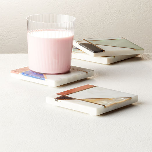 Flo Marble and Brass Coasters Set of 4