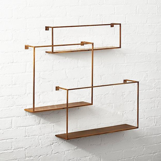Antiqued Brass Floating Shelves Set Of 3 Reviews Cb2