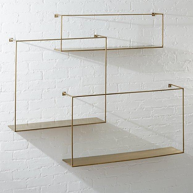 Antiqued Brass Large Floating Shelves Set of 3 - Image 1 of 4
