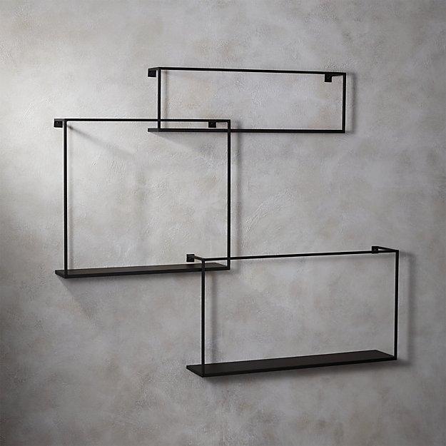 Matte Black Large Floating Shelves Set of 3 - Image 1 of 5