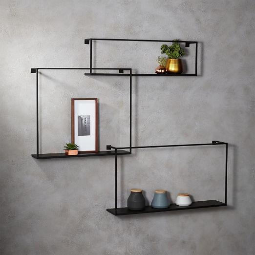 Matte Black Large Floating Shelves Set of 3