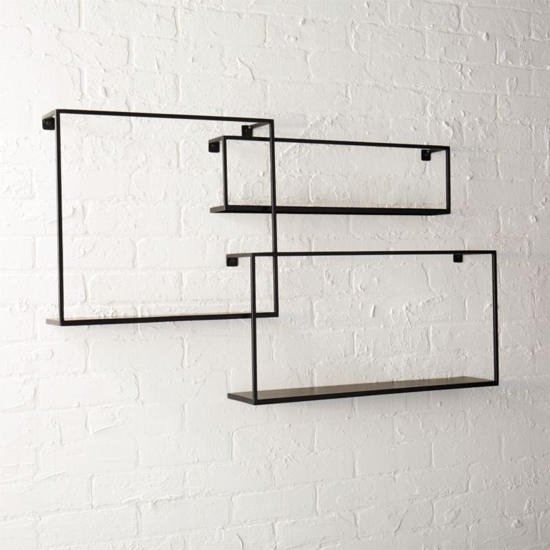 matte black floating shelves set of 3 & modern wall hooks | CB2
