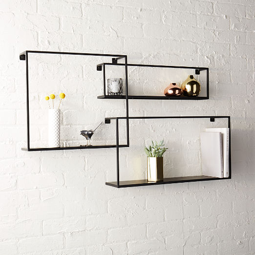 Matte Black Floating Shelves Set of 3