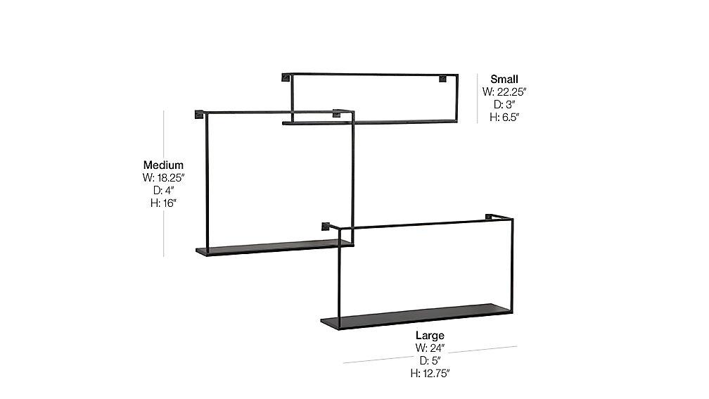Set Of 3 Iron Floating Shelves Reviews Cb2