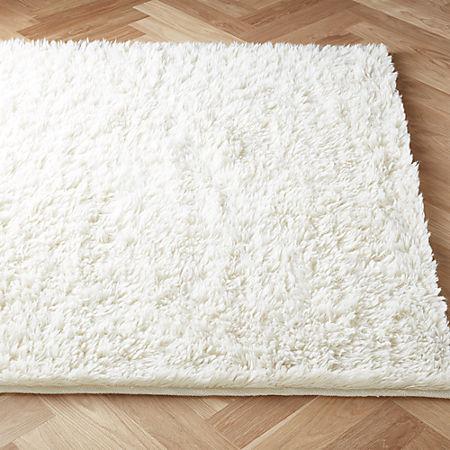 Flokati Ivory Wool Rug Cb2