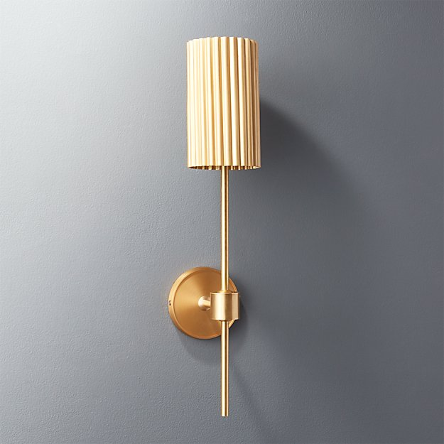 Fluted Gold Wall Sconce - Image 1 of 12