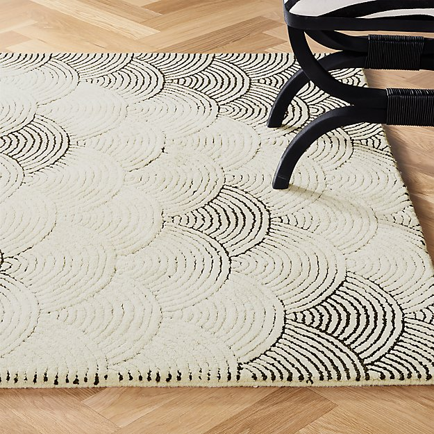 Flutter Black and White Rug - Image 1 of 12