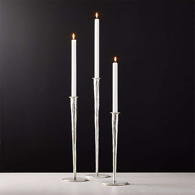 Forged Silver Taper Candle Holders - Image 1 of 9