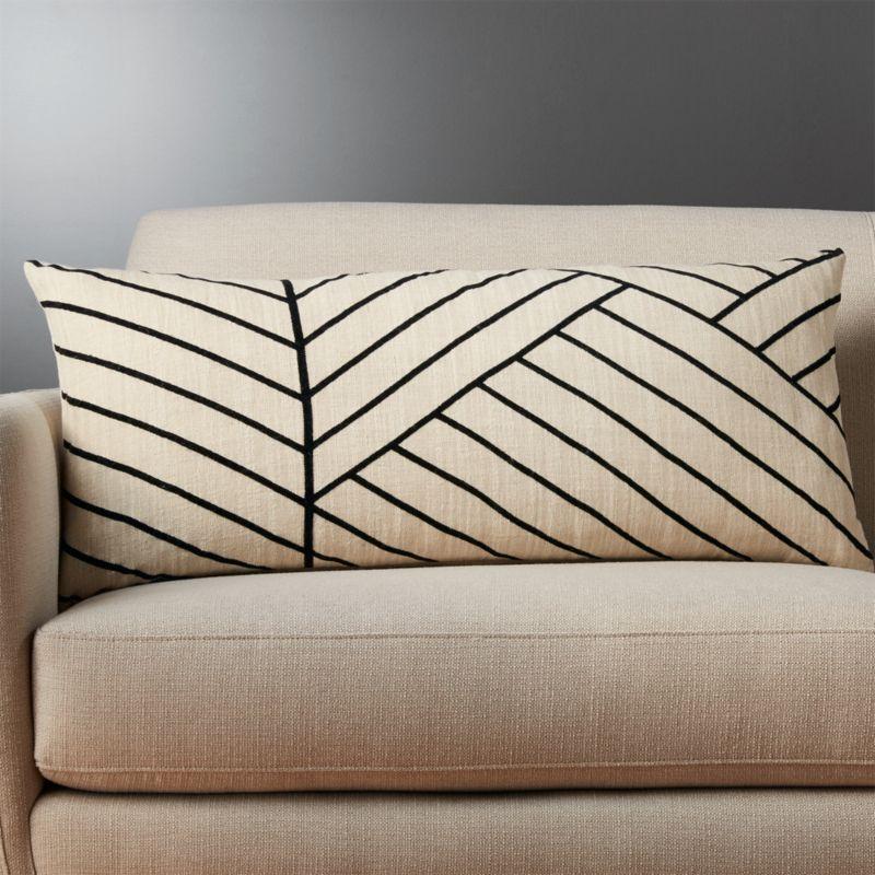 36 X16 Forma Linen Lumbar Pillow Cb2