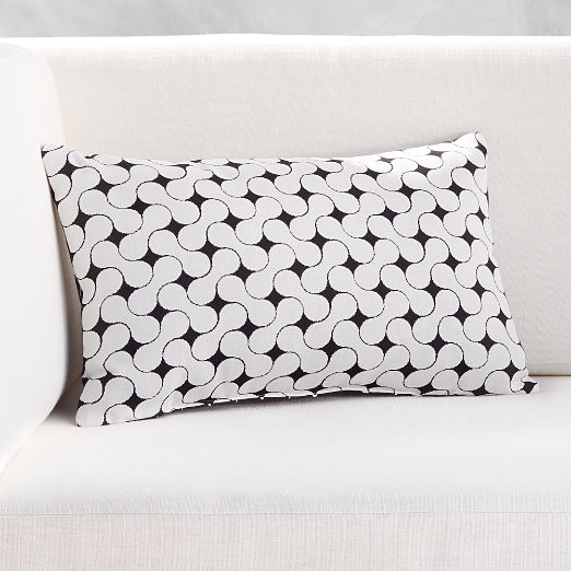 """20""""x12"""" Forme Black and White Outdoor Pillow"""