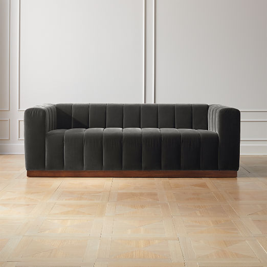 Forte Channeled Charcoal Velvet Sofa