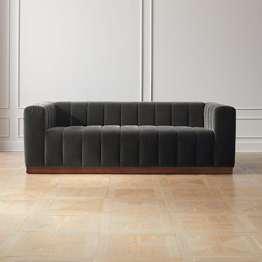 Forte Channeled Charcoal Velvet Sofa