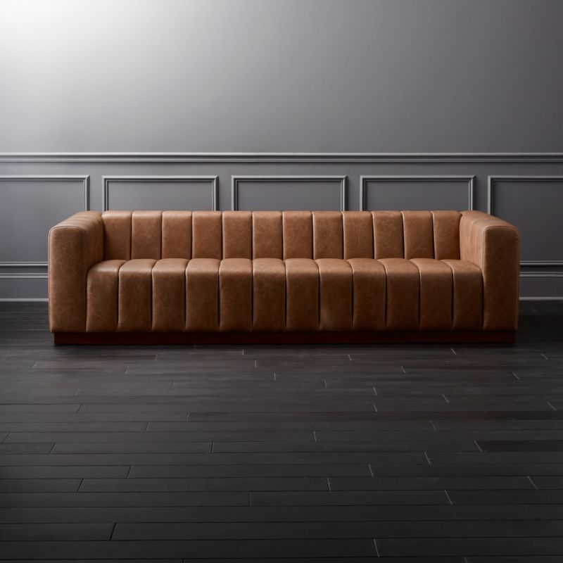 Attractive Forte Channeled Saddle Leather Extra Large Sofa