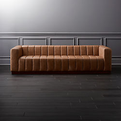 Modern Sofas Couches And Loveseats Cb2 - Curves-button-back-chair-in-chocolate-brown-and-green