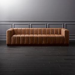 Forte Channeled Saddle Leather Extra Large Sofa