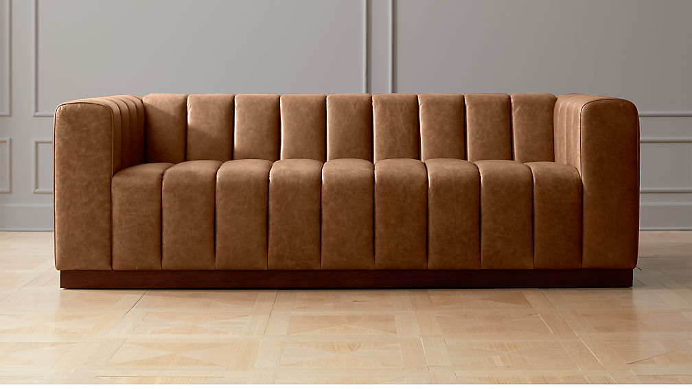 Forte Channeled Saddle Leather Sofa + Reviews | CB2