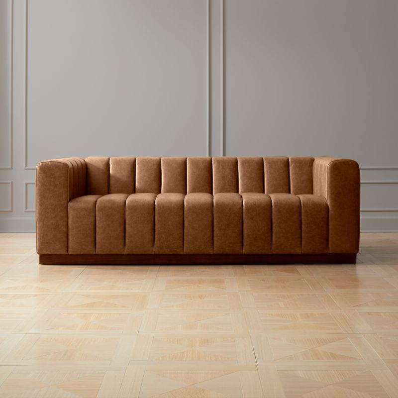 Forte Channeled Saddle Leather Sofa Reviews Cb2