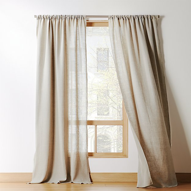 Natural Linen Curtain Panel - Image 1 of 11