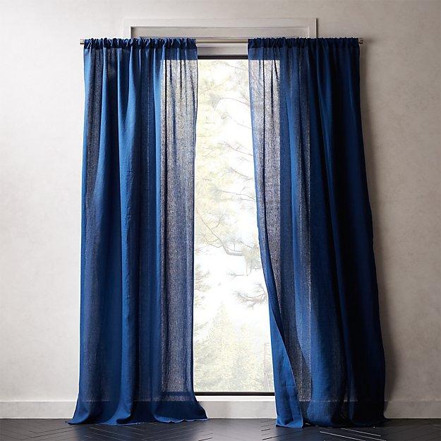 Navy Linen Curtain Panel - Image 1 of 4