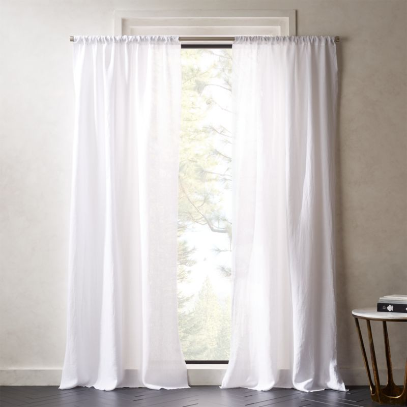White Linen Curtains | CB2