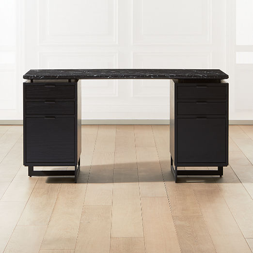 Fullerton Modular Black Desk with 2 Black Drawers