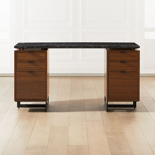 Fullerton Modular Black Desk with Two Walnut Drawers