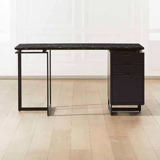 Fullerton Modular Black Desk with Black Drawer and Leg
