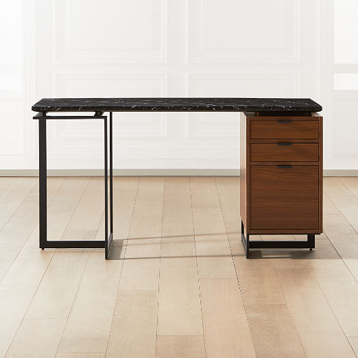 Fullerton Modular Black Desk with Walnut Drawer and Leg