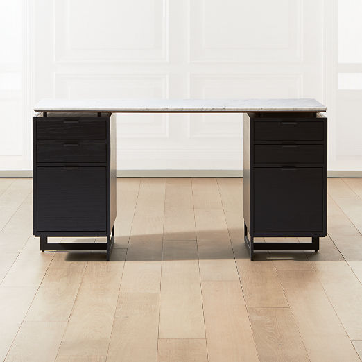 Fullerton Modular White Desk with 2 Black Drawers