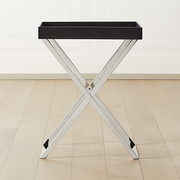 Fulton Black Leather Tray Table - Image 1 of 7