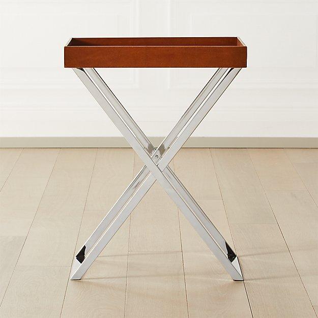 Fulton Saddle Leather Tray Table - Image 1 of 7