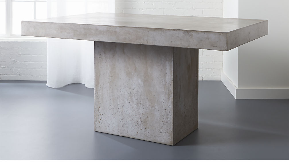 Fuze Grey Concrete Dining Table Reviews CB - Cb2 stone table