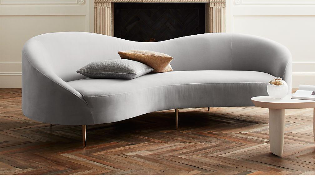Curvo Light Grey Velvet Sofa