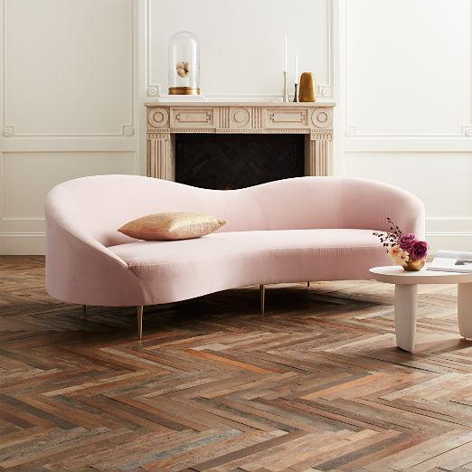 Curvo Pink Velvet Sofa