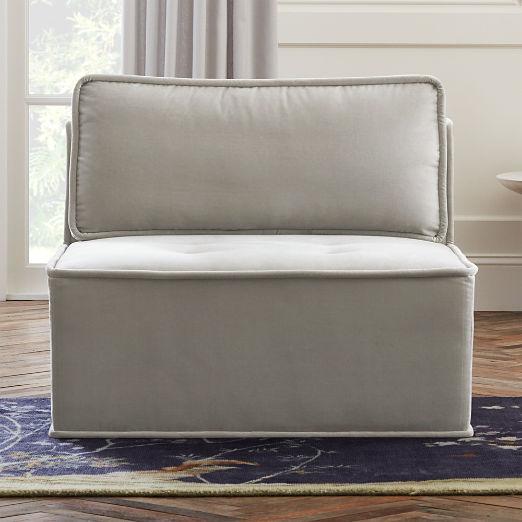 Quattro Sharkskin Light Grey Velvet Tufted Armless Chair