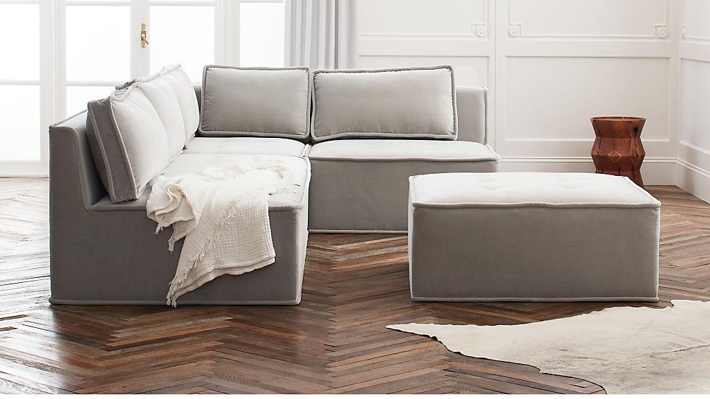 Quattro Sharkskin Light Grey Velvet Tufted 4-Piece Sectional Sofa - Image 1 of 7