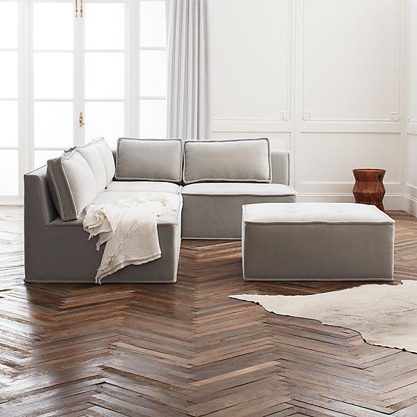 Quattro Sharkskin Light Grey Velvet Tufted 4-Piece Sectional Sofa   CB2