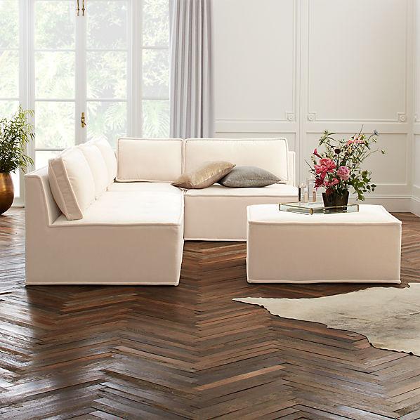 Quattro Snow Velvet Tufted 4-Piece Sectional Sofa | CB2