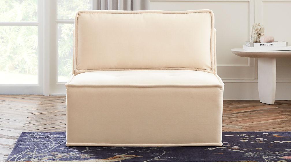 Quattro Snow Velvet Tufted Armless Chair - Image 1 of 8